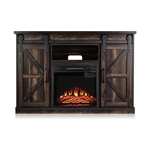 TURBRO Fireside FS48 TV Stand With Realistic Flames Fireplace Supports TVs Up To 55 With Sliding Barn Door Entertainment Center And Adjustable Shelves For Living Room Storage Rustic Brown 0