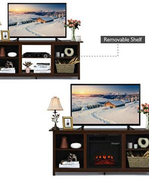TV Stand Entertainment Media Console Center With 1400W 18 Electric Fireplace Mantel Insert Realistic Flame Effect 3 Levels Flame Brightness Operates With Or Without Heat Holds TVs Up To 65 0 0 300x360
