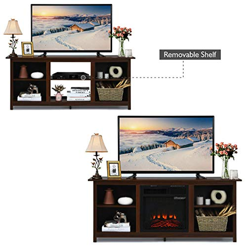 TV Stand Entertainment Media Console Center With 1400W 18 Electric Fireplace Mantel Insert Realistic Flame Effect 3 Levels Flame Brightness Operates With Or Without Heat Holds TVs Up To 65 0 0