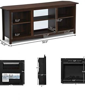 TV Stand Entertainment Media Console Center With 1400W 18 Electric Fireplace Mantel Insert Realistic Flame Effect 3 Levels Flame Brightness Operates With Or Without Heat Holds TVs Up To 65 0 1 300x360