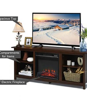 TV Stand Entertainment Media Console Center With 1400W 18 Electric Fireplace Mantel Insert Realistic Flame Effect 3 Levels Flame Brightness Operates With Or Without Heat Holds TVs Up To 65 0 2 300x360