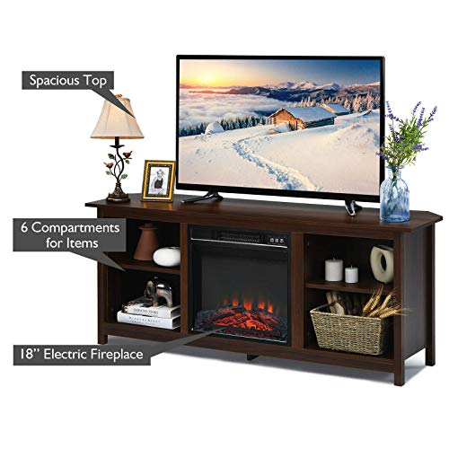 TV Stand Entertainment Media Console Center With 1400W 18 Electric Fireplace Mantel Insert Realistic Flame Effect 3 Levels Flame Brightness Operates With Or Without Heat Holds TVs Up To 65 0 2