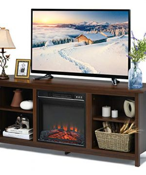 TV Stand Entertainment Media Console Center With 1400W 18 Electric Fireplace Mantel Insert Realistic Flame Effect 3 Levels Flame Brightness Operates With Or Without Heat Holds TVs Up To 65 0 300x360