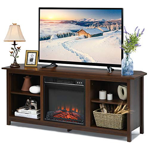 TV Stand Entertainment Media Console Center With 1400W 18 Electric Fireplace Mantel Insert Realistic Flame Effect 3 Levels Flame Brightness Operates With Or Without Heat Holds TVs Up To 65 0