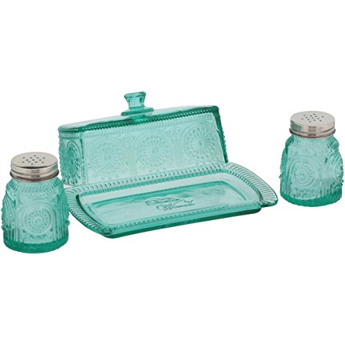The Pioneer Woman Adeline Glass Butter Dish With Salt And Pepper Shaker Set 0 0