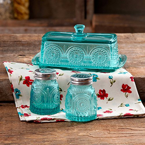 The Pioneer Woman Adeline Glass Butter Dish With Salt And Pepper Shaker Set 0 1
