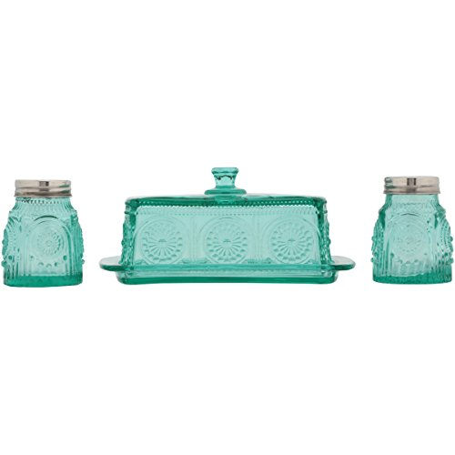 The Pioneer Woman Adeline Glass Butter Dish With Salt And Pepper Shaker Set 0