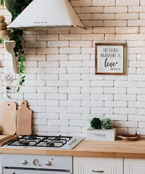 The Secret Ingredient Is Always Love And Butter Sign Funny Kitchen Sign Modern Farmhouse Kitchen Decor Kitchen Wall Decor Country Kitchen Decor With Solid Wood Frame 12x12 Inch 0 1 300x360