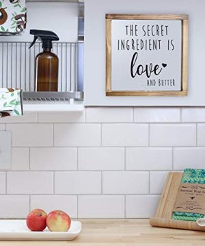 The Secret Ingredient Is Always Love And Butter Sign Funny Kitchen Sign Modern Farmhouse Kitchen Decor Kitchen Wall Decor Country Kitchen Decor With Solid Wood Frame 12x12 Inch 0 4 300x360