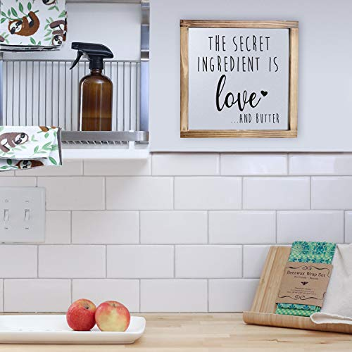 The Secret Ingredient Is Always Love And Butter Sign Funny Kitchen Sign Modern Farmhouse Kitchen Decor Kitchen Wall Decor Country Kitchen Decor With Solid Wood Frame 12x12 Inch 0 4