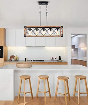 Trongee 395 5 Light Kitchen Island Lighting Farmhouse Dining Room Living Room Chandelier Industrial Black Metal And Wood Pendant Lighting With Glass Lampshade 0 0 300x360