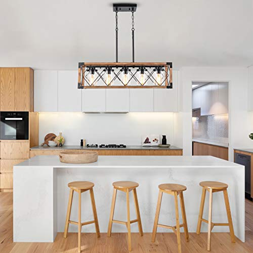 Trongee 395 5 Light Kitchen Island Lighting Farmhouse Dining Room Living Room Chandelier Industrial Black Metal And Wood Pendant Lighting With Glass Lampshade 0 0