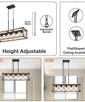 Trongee 395 5 Light Kitchen Island Lighting Farmhouse Dining Room Living Room Chandelier Industrial Black Metal And Wood Pendant Lighting With Glass Lampshade 0 2 300x360