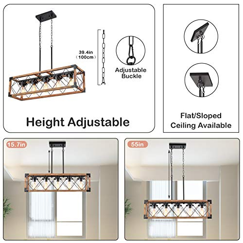 Trongee 395 5 Light Kitchen Island Lighting Farmhouse Dining Room Living Room Chandelier Industrial Black Metal And Wood Pendant Lighting With Glass Lampshade 0 2