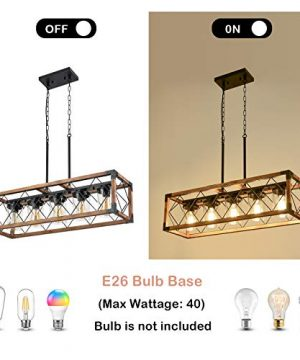 Trongee 395 5 Light Kitchen Island Lighting Farmhouse Dining Room Living Room Chandelier Industrial Black Metal And Wood Pendant Lighting With Glass Lampshade 0 3 300x360