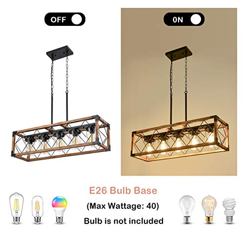 Trongee 395 5 Light Kitchen Island Lighting Farmhouse Dining Room Living Room Chandelier Industrial Black Metal And Wood Pendant Lighting With Glass Lampshade 0 3