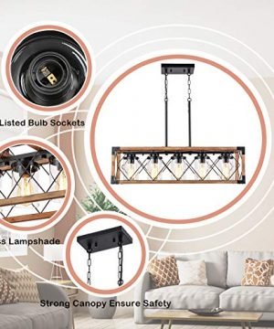 Trongee 395 5 Light Kitchen Island Lighting Farmhouse Dining Room Living Room Chandelier Industrial Black Metal And Wood Pendant Lighting With Glass Lampshade 0 4 300x360