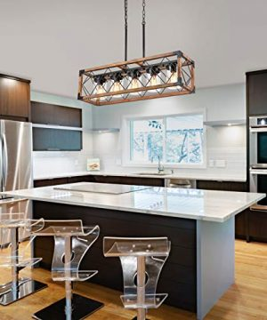 Trongee 395 5 Light Kitchen Island Lighting Farmhouse Dining Room Living Room Chandelier Industrial Black Metal And Wood Pendant Lighting With Glass Lampshade 0 5 300x360