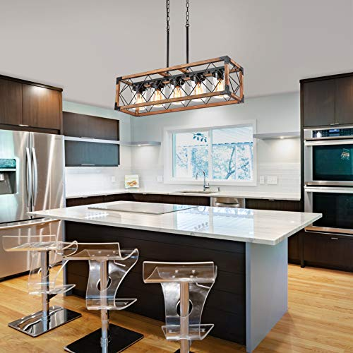 Trongee 395 5 Light Kitchen Island Lighting Farmhouse Dining Room Living Room Chandelier Industrial Black Metal And Wood Pendant Lighting With Glass Lampshade 0 5