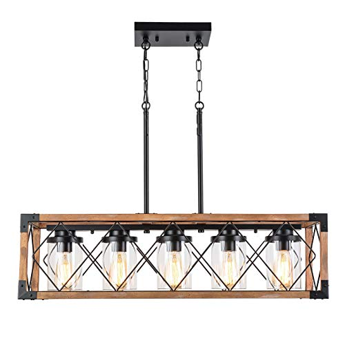 Trongee 395 5 Light Kitchen Island Lighting Farmhouse Dining Room Living Room Chandelier Industrial Black Metal And Wood Pendant Lighting With Glass Lampshade 0