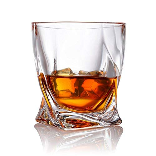 Twist Whiskey Glasses Set Of 2 Ultra Clarity Glass Rocks Tumblers 10oz By Van Daemon For Liquor Bourbon Or Scotch Perfectly Gift Boxed 0 0
