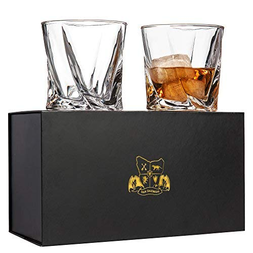 Twist Whiskey Glasses Set Of 2 Ultra Clarity Glass Rocks Tumblers 10oz By Van Daemon For Liquor Bourbon Or Scotch Perfectly Gift Boxed 0
