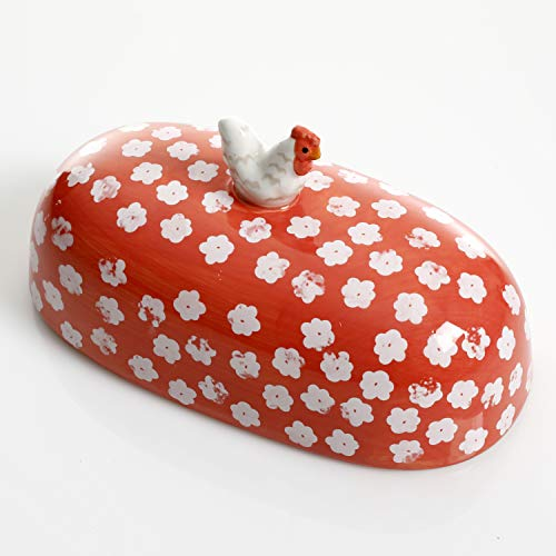 Urban Market By Gibson Life On The Farm Figural Rooster Butter Dish With Lid Red 0 2