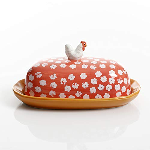 Urban Market By Gibson Life On The Farm Figural Rooster Butter Dish With Lid Red 0