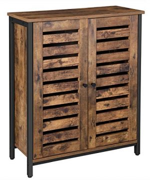 VASAGLE LOWELL Standing Cabinet Storage Cabinet Cupboard Accent Side Cabinet Sideboard With Louvered Doors Multifunctional In Living Room Bedroom Hallway Industrial Rustic Brown ULSC78BX 0 300x360