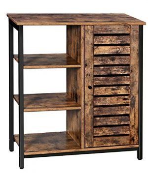 VASAGLE LOWELL Storage Cabinet Cupboard Multipurpose Cabinet 3 Open Shelves And Closed Compartments For Kitchen Living Room Bedroom Industrial Rustic Brown And Black ULSC74BX 0 300x360