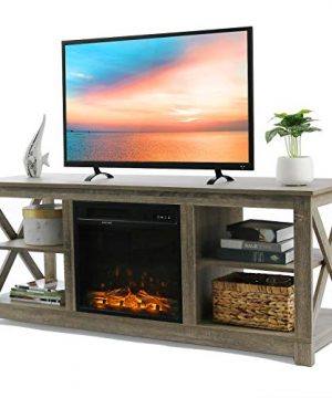 VINGLI Electric Fireplace Media Center Farmhouse Electric Fireplace TV Stand With Remote TV Console With Fireplace For TV Up To 60 Barn Wood Gray 0 300x360