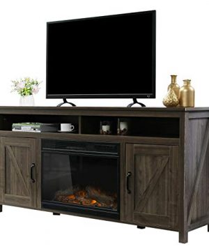 VINGLI Farmhouse Electric Fireplace TV Stand With Barn Doors 60 Inch TV Stand With Fireplace Media Console TV Cabinets With Fireplace Entertainment Centers Barn Wood Oak 0 300x360