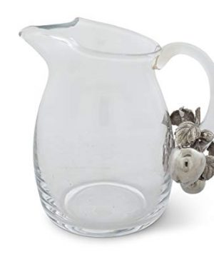 Vagabond House Glass Pitcher Glass With Pewter Apple Pattern Water Jug For Cold Water Ice Tea And Juice Beverage 8 Tall 0 0 300x360