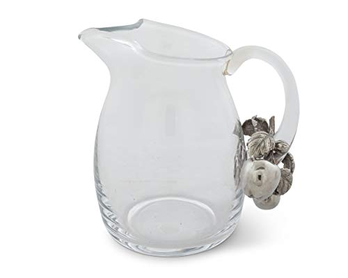 Vagabond House Glass Pitcher Glass With Pewter Apple Pattern Water Jug For Cold Water Ice Tea And Juice Beverage 8 Tall 0 0