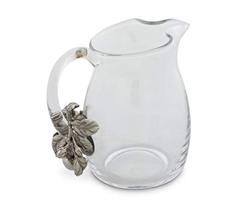 Vagabond House Glass Pitcher Glass With Pewter Apple Pattern Water Jug For Cold Water Ice Tea And Juice Beverage 8 Tall 0