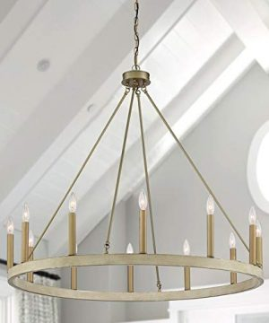 Vanity Art 12 Lights Wagon Wheel Chandelier Lighting Farmhouse Candle Ceiling Light Fixtures For Living Room Kitchen Dining Room WhitewoodBrassDust 10552WO BD 0 300x360