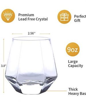 Verolux Whiskey Glasses For Scotch Bourbon Liquor And Cocktail Drinks Old Fashioned Whiskey Tumblers Thick Heavy Base Set Of 6 9 Oz 0 2 300x360
