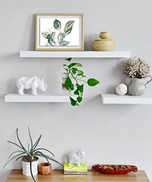 WELLAND Mission Floating Shelf Wall Mount Shelving Wood Modern Display Shelves Bookshelvesfor Living Room Kitchen Approx 60 Inch Length By 2 Inch High White 0 1 300x360