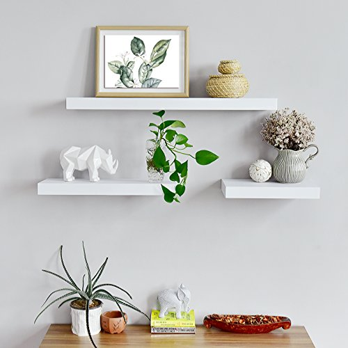 WELLAND Mission Floating Shelf Wall Mount Shelving Wood Modern Display Shelves Bookshelvesfor Living Room Kitchen Approx 60 Inch Length By 2 Inch High White 0 1