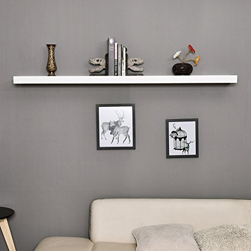WELLAND Mission Floating Shelf Wall Mount Shelving Wood Modern Display Shelves Bookshelvesfor Living Room Kitchen Approx 60 Inch Length By 2 Inch High White 0 2