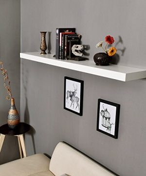 WELLAND Mission Floating Shelf Wall Mount Shelving Wood Modern Display Shelves Bookshelvesfor Living Room Kitchen Approx 60 Inch Length By 2 Inch High White 0 3 300x360
