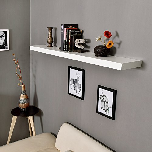 WELLAND Mission Floating Shelf Wall Mount Shelving Wood Modern Display Shelves Bookshelvesfor Living Room Kitchen Approx 60 Inch Length By 2 Inch High White 0 3