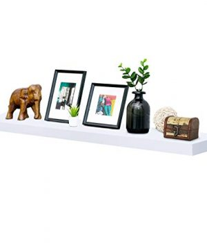WELLAND Mission Floating Shelf Wall Mount Shelving Wood Modern Display Shelves Bookshelvesfor Living Room Kitchen Approx 60 Inch Length By 2 Inch High White 0 300x360