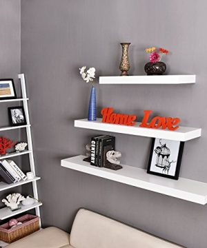 WELLAND Mission Floating Shelf Wall Mount Shelving Wood Modern Display Shelves Bookshelvesfor Living Room Kitchen Approx 60 Inch Length By 2 Inch High White 0 4 300x360
