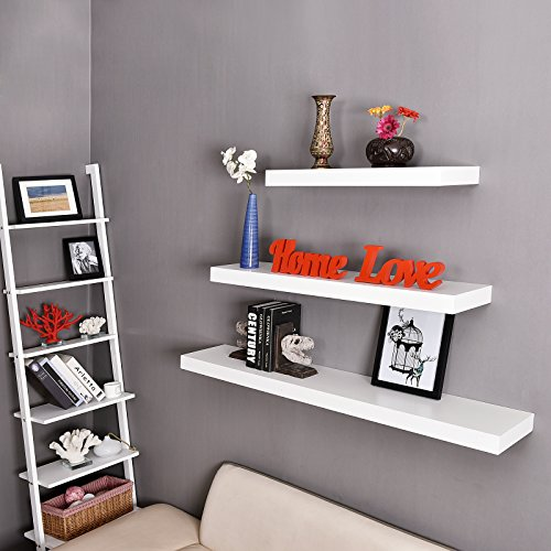 WELLAND Mission Floating Shelf Wall Mount Shelving Wood Modern Display Shelves Bookshelvesfor Living Room Kitchen Approx 60 Inch Length By 2 Inch High White 0 4