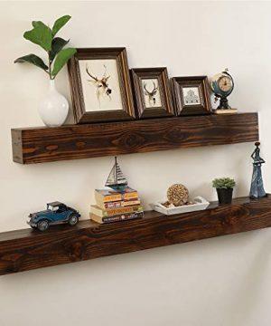 WELLAND Rustic Floating Shelf Reclaimed Wood Wall Shelf Fireplace Mantel Shelf Wall MountedWalnut Color 48 W X 6 D X 6 H 0 0 300x360