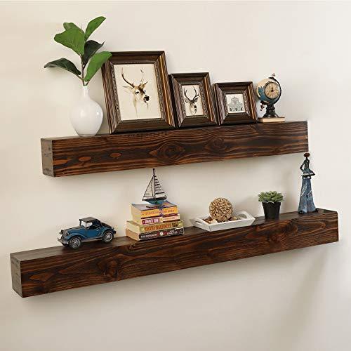 WELLAND Rustic Floating Shelf Reclaimed Wood Wall Shelf Fireplace Mantel Shelf Wall MountedWalnut Color 48 W X 6 D X 6 H 0 0