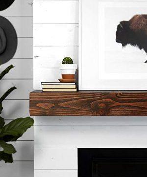 WELLAND Rustic Floating Shelf Reclaimed Wood Wall Shelf Fireplace Mantel Shelf Wall MountedWalnut Color 48 W X 6 D X 6 H 0 1 300x360