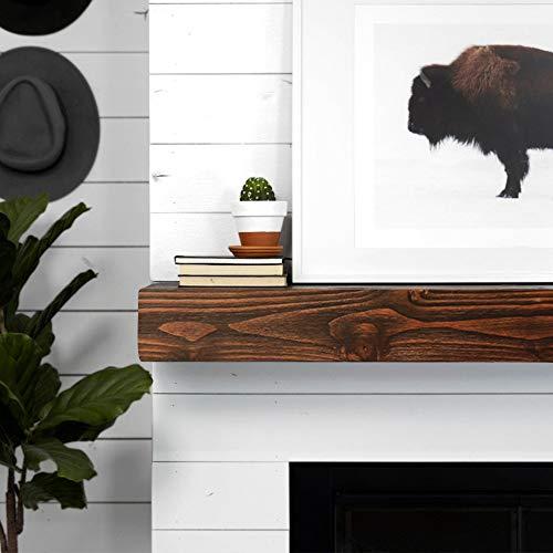 WELLAND Rustic Floating Shelf Reclaimed Wood Wall Shelf Fireplace Mantel Shelf Wall MountedWalnut Color 48 W X 6 D X 6 H 0 1