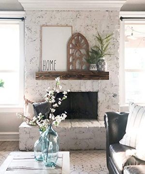 WELLAND Rustic Floating Shelf Reclaimed Wood Wall Shelf Fireplace Mantel Shelf Wall MountedWalnut Color 48 W X 6 D X 6 H 0 2 300x360
